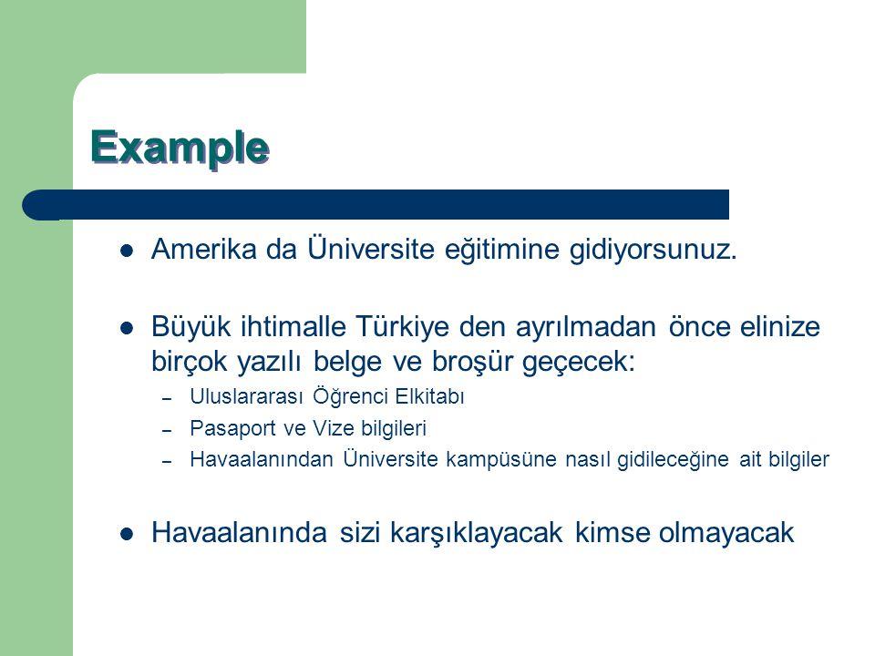 Example Amerika da Üniversite eğitimine gidiyorsunuz. Büyük ihtimalle Türkiye den ayrılmadan önce elinize birçok yazılı belge ve broşür geçecek: – Ulu