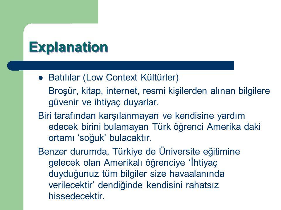 Explanation Batılılar (Low Context Kültürler) Broşür, kitap, internet, resmi kişilerden alınan bilgilere güvenir ve ihtiyaç duyarlar. Biri tarafından