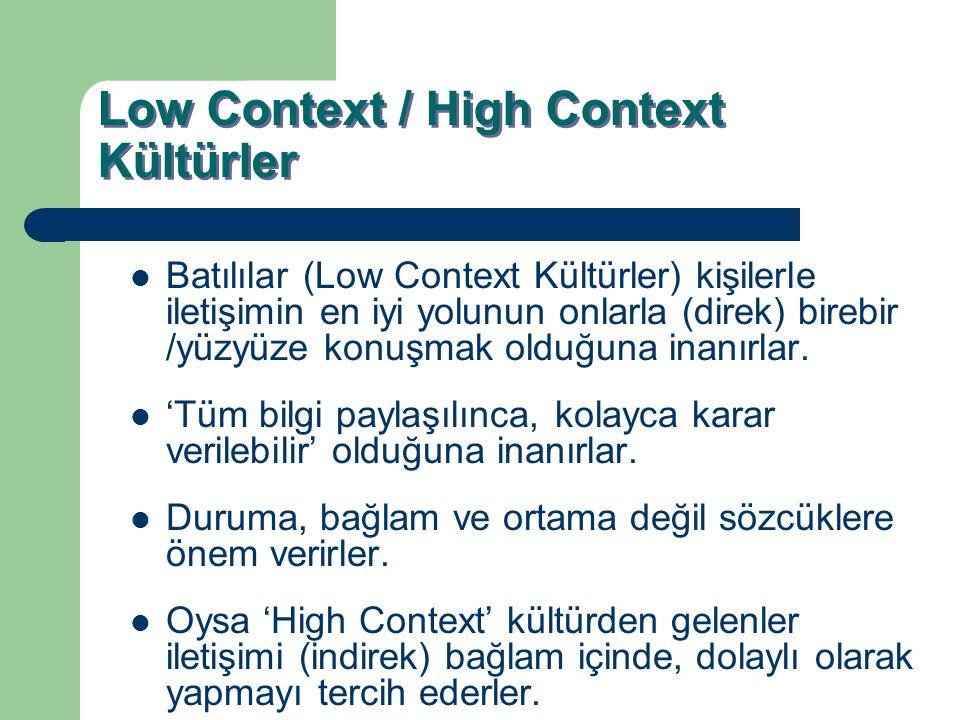 Low Context / High Context Kültürler Batılılar (Low Context Kültürler) kişilerle iletişimin en iyi yolunun onlarla (direk) birebir /yüzyüze konuşmak o