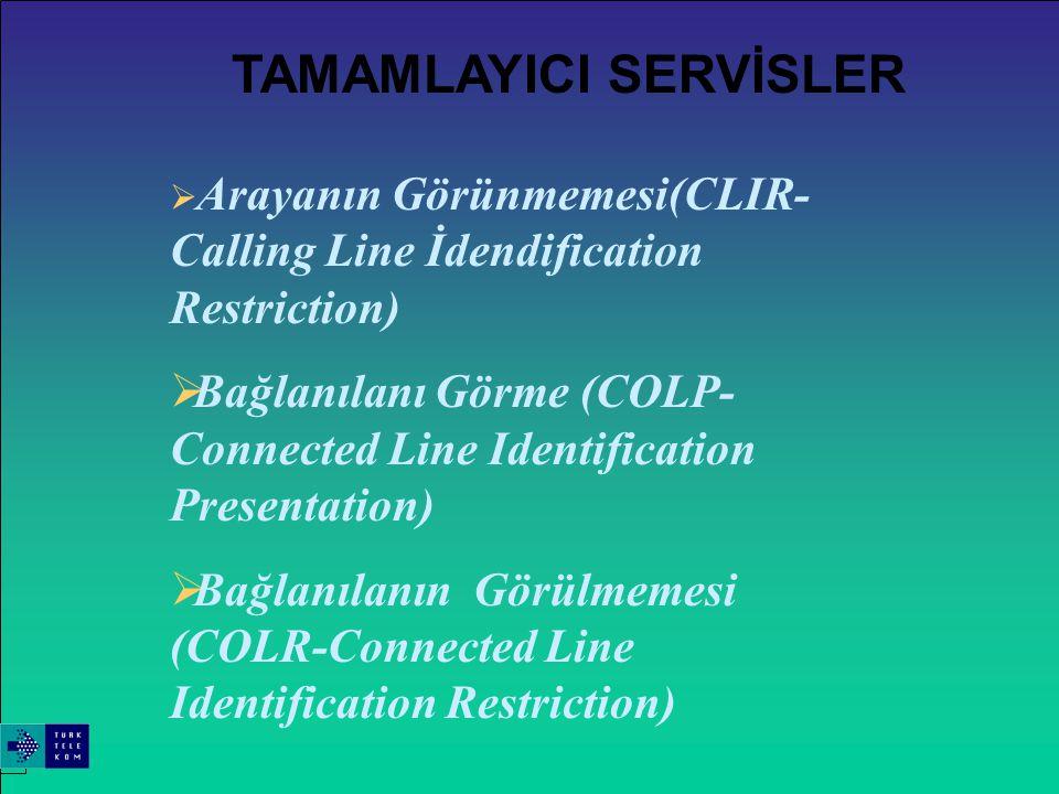  Çağrı Tutma (Call-Hold)  Çıkan Arama Kısıtlaması (Call Barring)  Bekeleyen Çağrı(Call Waiting)  Çağrı Yönlendirme (Call Forward)  Konferans Görüşme  Terminal Taşınırlığı (Terminal Portability)  Çağrı transferi (Call Transfer)  Kötü Amaçlı Çağrıları Yakalama  Meşgulde Tekrar Arama  Hat Yakalama (Line Hunting) TAMAMLAYICI SERVİSLER