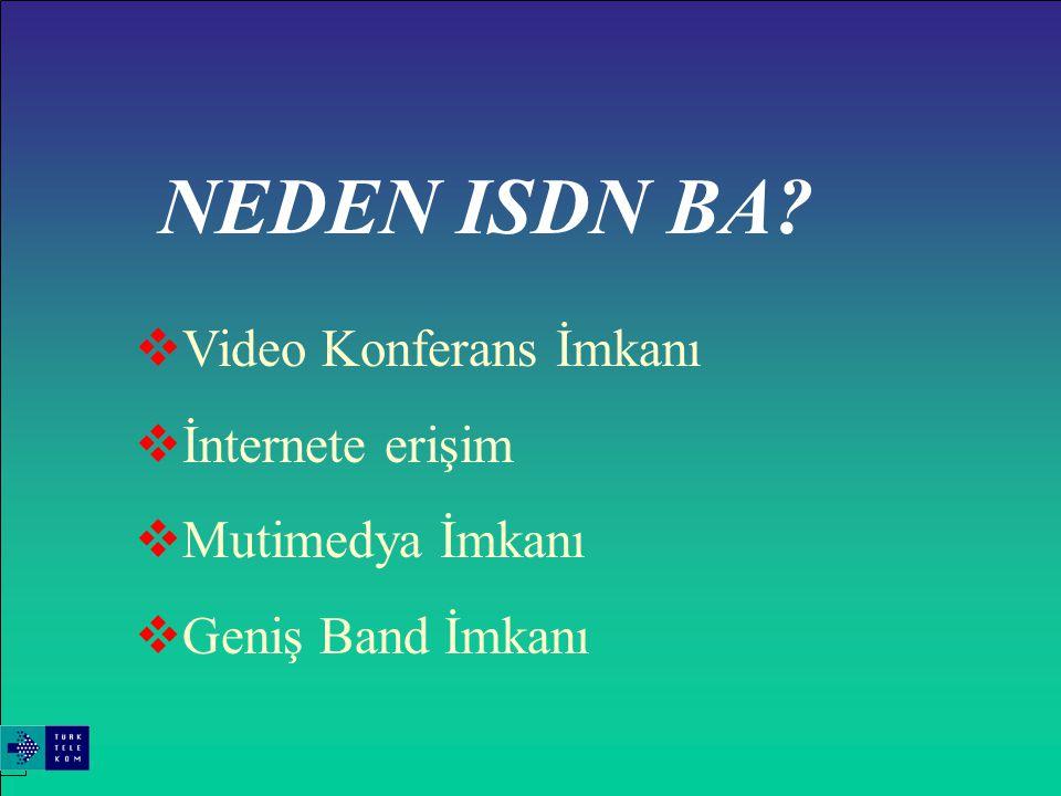 ISDN BA 'NIN UYGULAMA ALANLARINDAN BAZI ÖRNEKLER  Video konferans uygulaması  Broadcast Uygulaması  İnternet Erişimi  LAN(Local Area Network)  Perakende satışlar  Endüstri ve Yönetimi  Bankacılık ve Sigorta