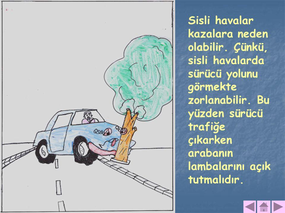 Sisli havalar kazalara neden olabilir. Çünkü, sisli havalarda sürücü yolunu görmekte zorlanabilir. Bu yüzden sürücü trafiğe çıkarken arabanın lambalar