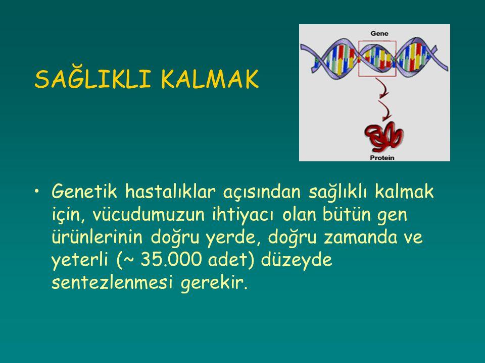 SAĞLIKLI KALMAK Genetik hastalıklar açısından sağlıklı kalmak için, vücudumuzun ihtiyacı olan bütün gen ürünlerinin doğru yerde, doğru zamanda ve yete