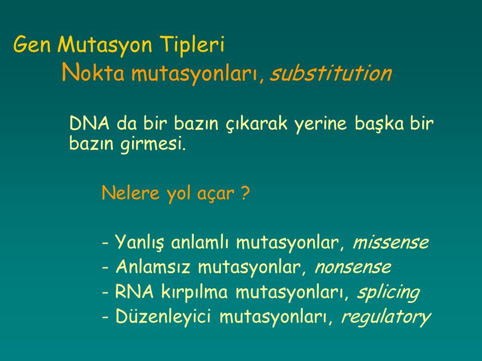 Gen Mutasyon Tipleri N okta mutasyonları, substitution DNA da bir bazın çıkarak yerine başka bir bazın girmesi. Nelere yol açar ? - Yanlış anlamlı mut