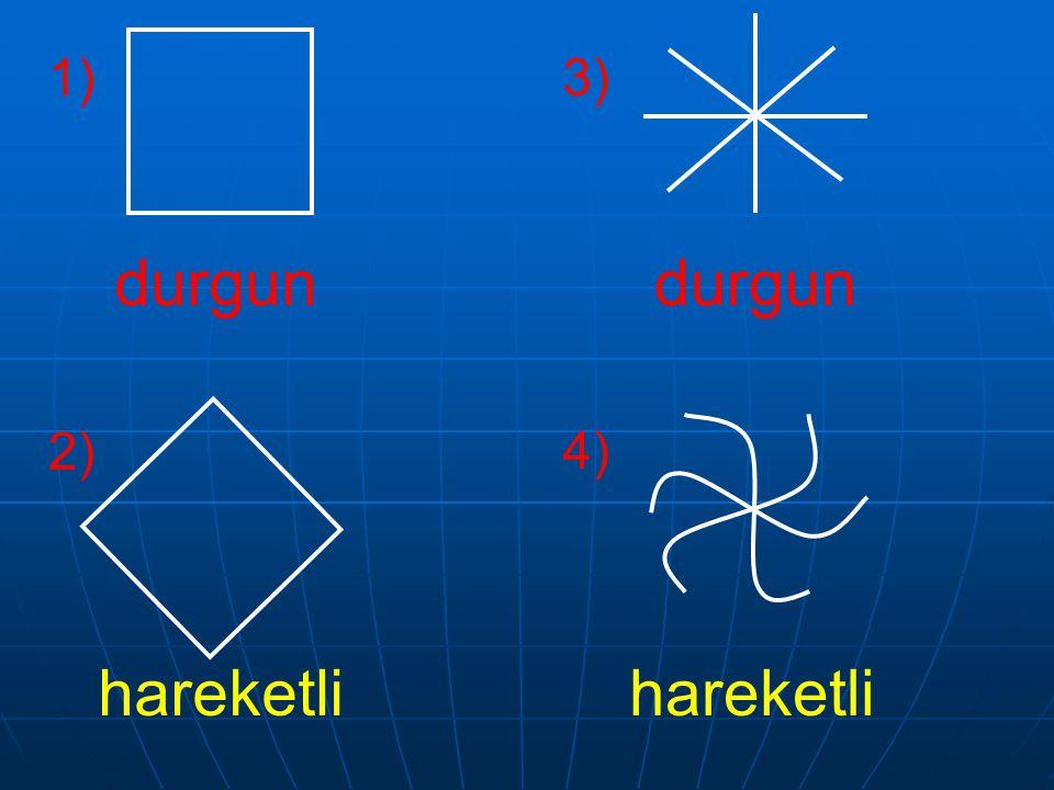 1) 2) 3) 4) Soru : Şekil 'deki biçimlere dikkatlice bakın. Hangileri daha hareketli etki yapıyor? Neden?