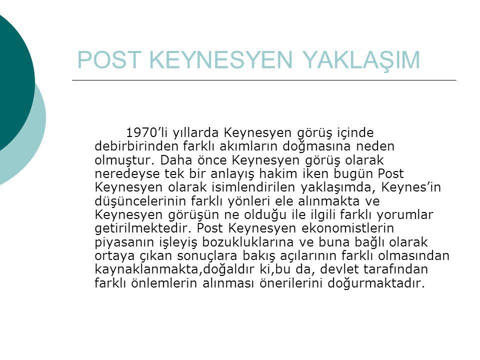POST KEYNESYEN YAKLAŞIM 1970'li yıllarda Keynesyen görüş içinde debirbirinden farklı akımların doğmasına neden olmuştur.