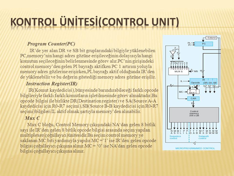 Program Counter(PC) IR'de yer alan DR ve SB bit gruplarındaki bilgiyle yüklenebilen PC,memory'nin hangi adres gözüne erişileceğinin dolayısıyla hangi