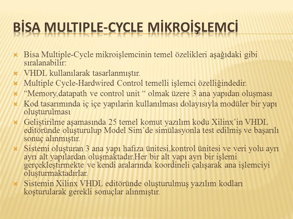  Bisa Multiple-Cycle mikroişlemcinin temel özelikleri aşağıdaki gibi sıralanabilir:  VHDL kullanılarak tasarlanmıştır.  Multiple Cycle-Hardwired Co