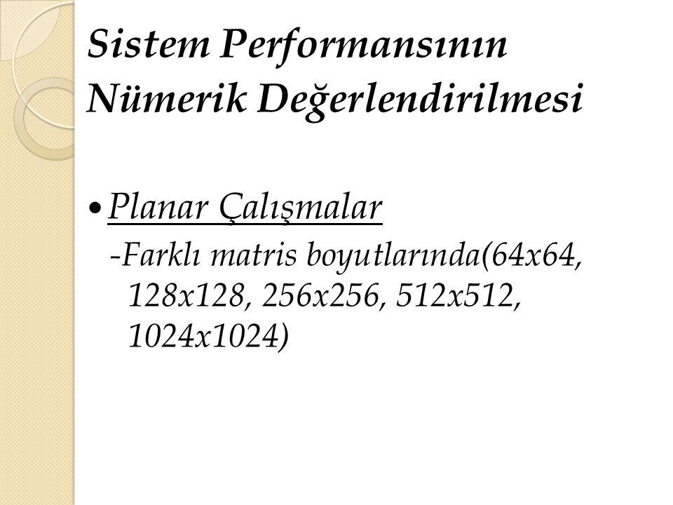 Sistem Performansının Nümerik Değerlendirilmesi Planar Çalışmalar -Farklı matris boyutlarında(64x64, 128x128, 256x256, 512x512, 1024x1024)