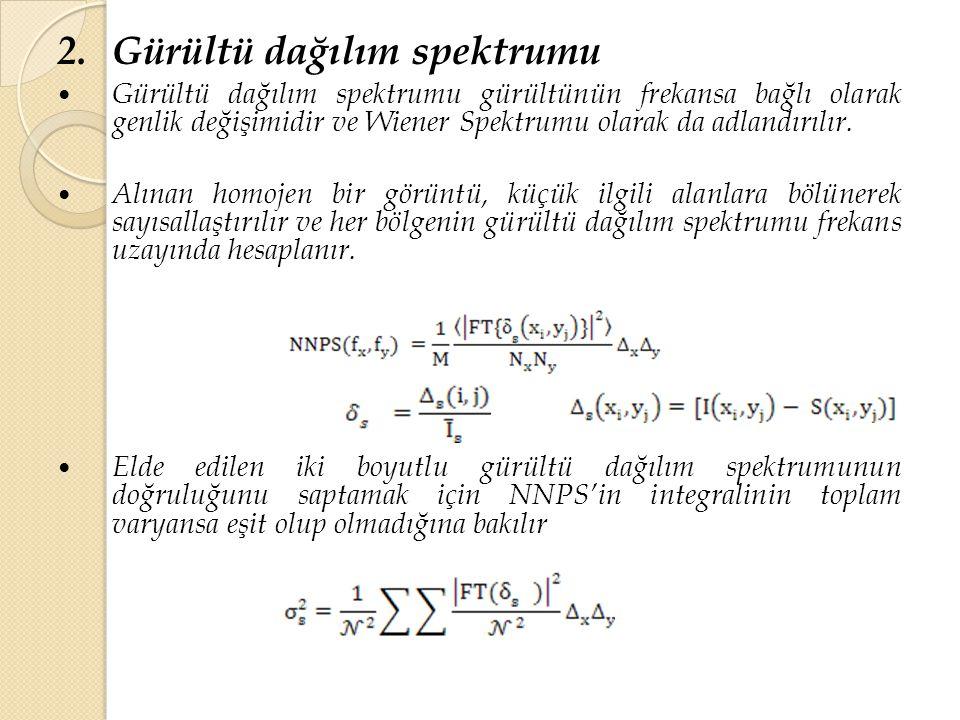 2.Gürültü dağılım spektrumu Gürültü dağılım spektrumu gürültünün frekansa bağlı olarak genlik değişimidir ve Wiener Spektrumu olarak da adlandırılır.
