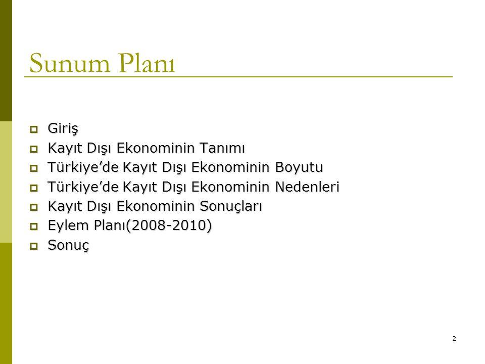 2 Sunum Planı  Giriş  Kayıt Dışı Ekonominin Tanımı  Türkiye'de Kayıt Dışı Ekonominin Boyutu  Türkiye'de Kayıt Dışı Ekonominin Nedenleri  Kayıt Dı