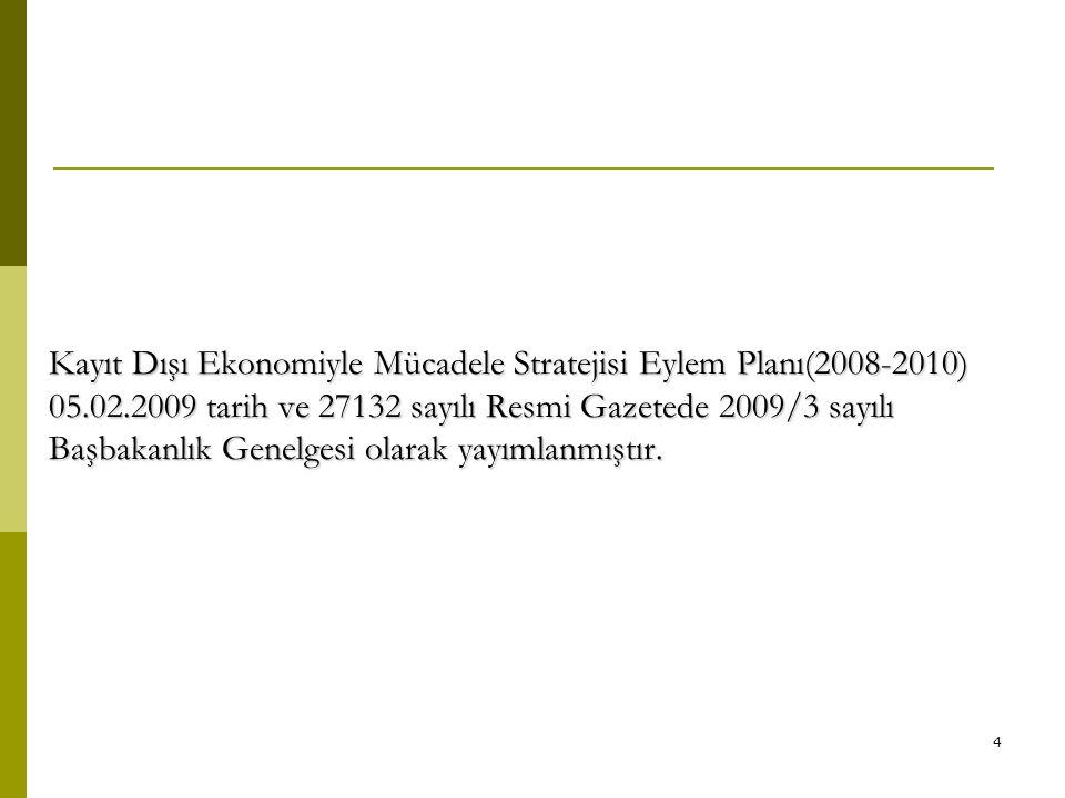 4 Kayıt Dışı Ekonomiyle Mücadele Stratejisi Eylem Planı(2008-2010) 05.02.2009 tarih ve 27132 sayılı Resmi Gazetede 2009/3 sayılı Başbakanlık Genelgesi
