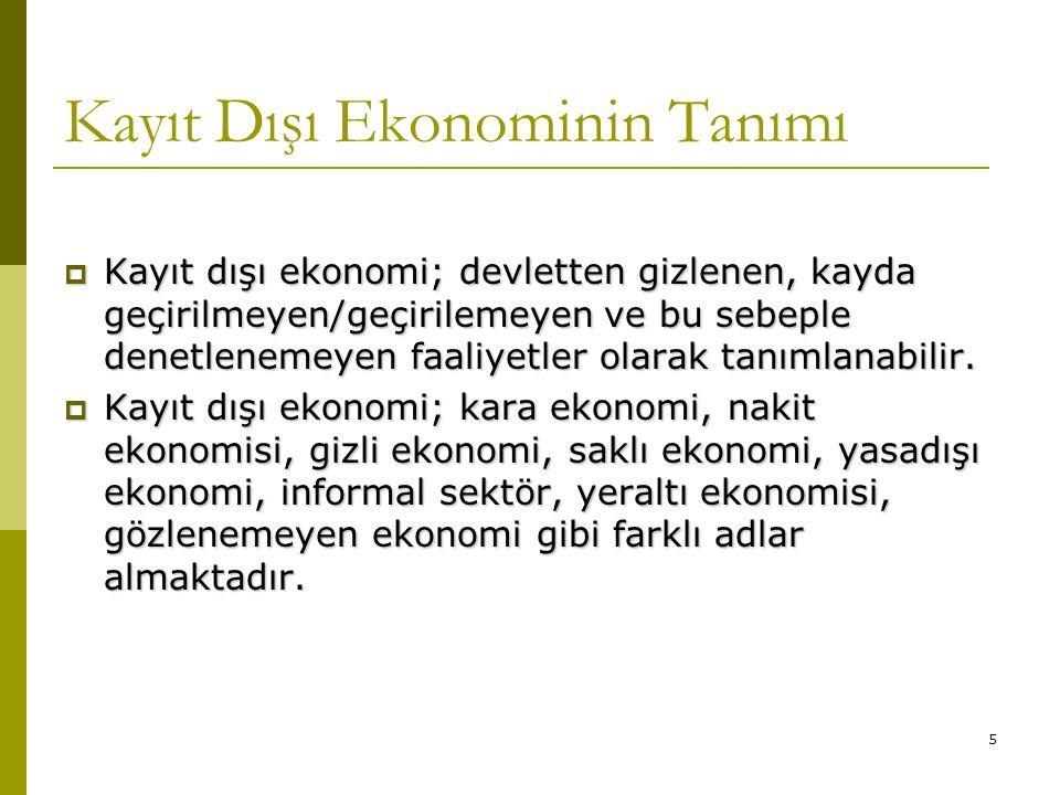 5 Kayıt Dışı Ekonominin Tanımı  Kayıt dışı ekonomi; devletten gizlenen, kayda geçirilmeyen/geçirilemeyen ve bu sebeple denetlenemeyen faaliyetler ola