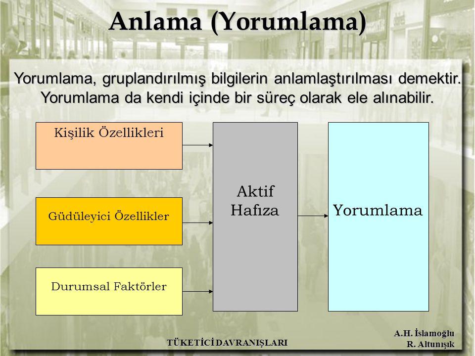 A.H. İslamoğlu R. Altunışık TÜKETİCİ DAVRANIŞLARI Anlama (Yorumlama) Yorumlama, gruplandırılmış bilgilerin anlamlaştırılması demektir. Yorumlama da ke