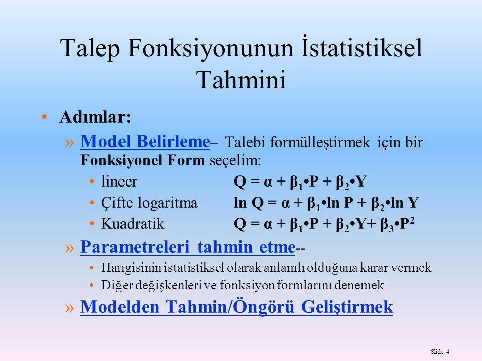 Slide 4 Talep Fonksiyonunun İstatistiksel Tahmini Adımlar: »Model Belirleme – Talebi formülleştirmek için bir Fonksiyonel Form seçelim: lineerQ = α + β 1 P + β 2 Y Çifte logaritmaln Q = α + β 1 ln P + β 2 ln Y KuadratikQ = α + β 1 P + β 2 Y+ β 3 P 2 »Parametreleri tahmin etme -- Hangisinin istatistiksel olarak anlamlı olduğuna karar vermek Diğer değişkenleri ve fonksiyon formlarını denemek »Modelden Tahmin/Öngörü Geliştirmek