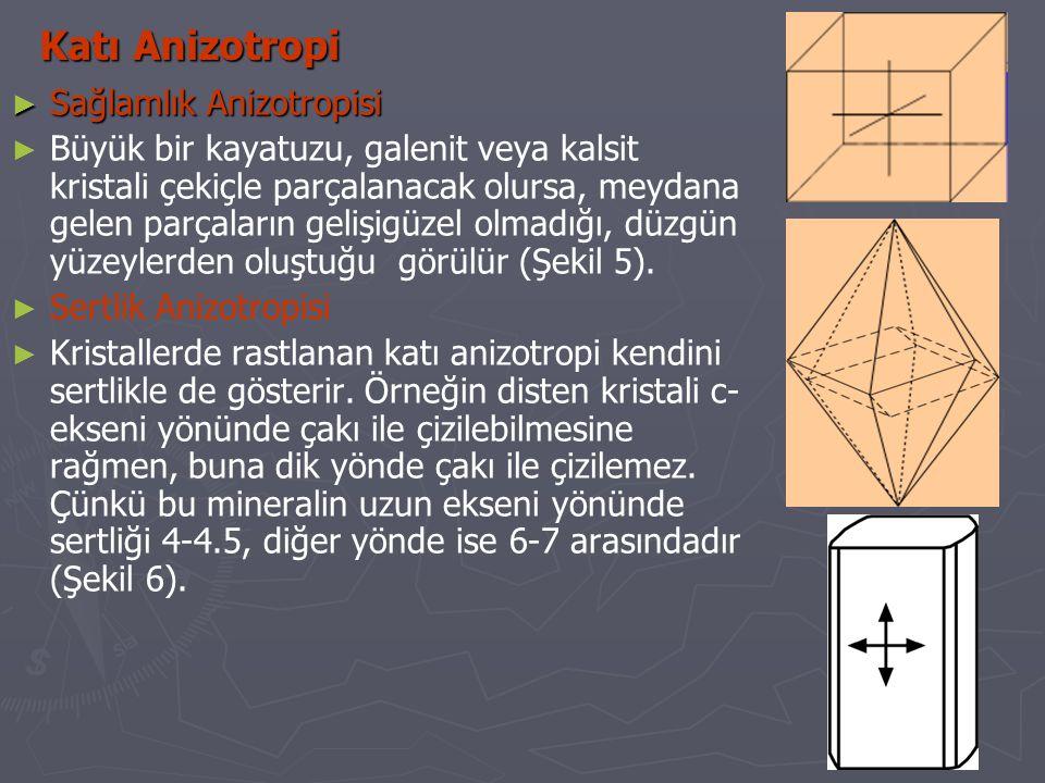 ► Isı İletkenliği Anizotropisi ► Bu anizotropi türünün de kristallerin ısı iletme yetenekleri yönlere bağlı olarak değişmektedir.
