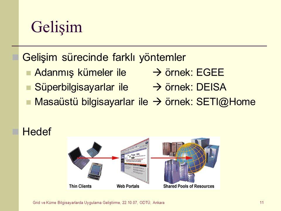 Grid ve Küme Bilgisayarlarda Uygulama Geliştirme, 22.10.07, ODTÜ, Ankara 11 Gelişim Gelişim sürecinde farklı yöntemler Adanmış kümeler ile  örnek: EG