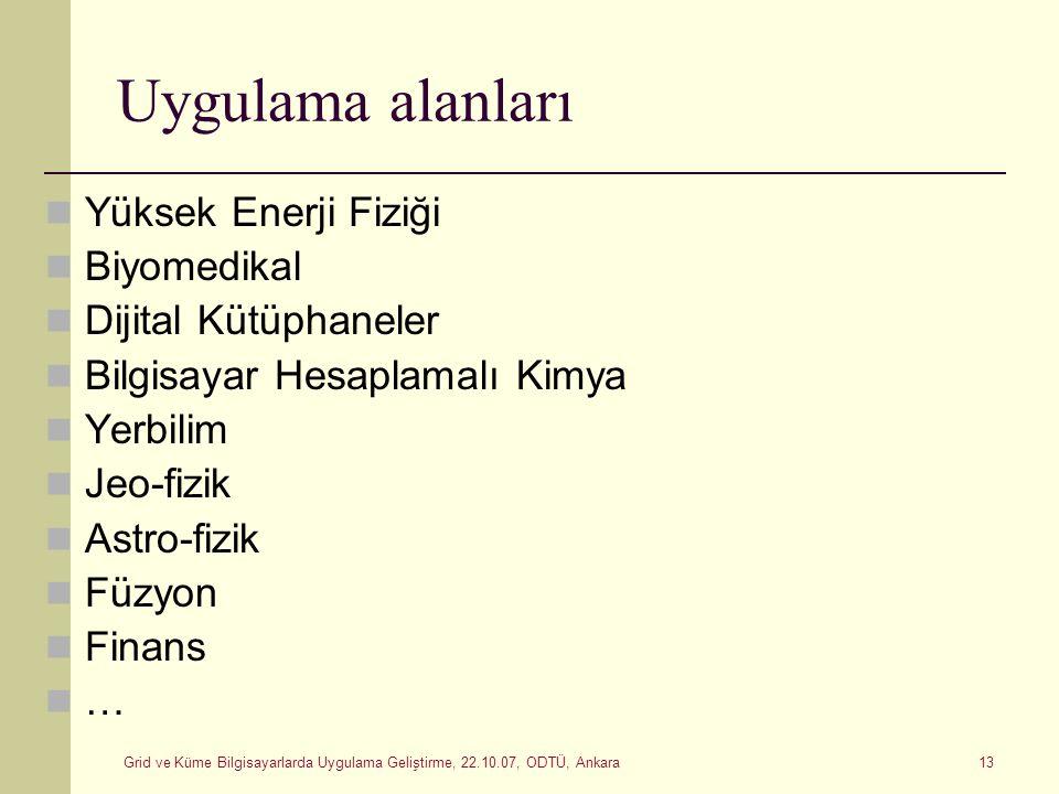 Grid ve Küme Bilgisayarlarda Uygulama Geliştirme, 22.10.07, ODTÜ, Ankara 13 Uygulama alanları Yüksek Enerji Fiziği Biyomedikal Dijital Kütüphaneler Bi