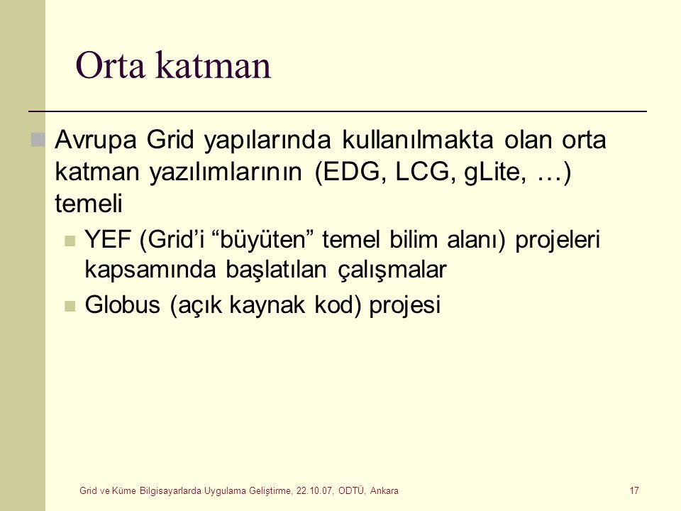 Grid ve Küme Bilgisayarlarda Uygulama Geliştirme, 22.10.07, ODTÜ, Ankara 17 Orta katman Avrupa Grid yapılarında kullanılmakta olan orta katman yazılım