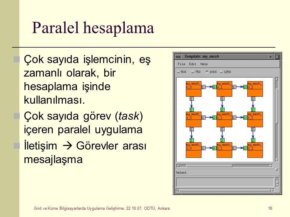 Grid ve Küme Bilgisayarlarda Uygulama Geliştirme, 22.10.07, ODTÜ, Ankara 18 Paralel hesaplama Çok sayıda işlemcinin, eş zamanlı olarak, bir hesaplama