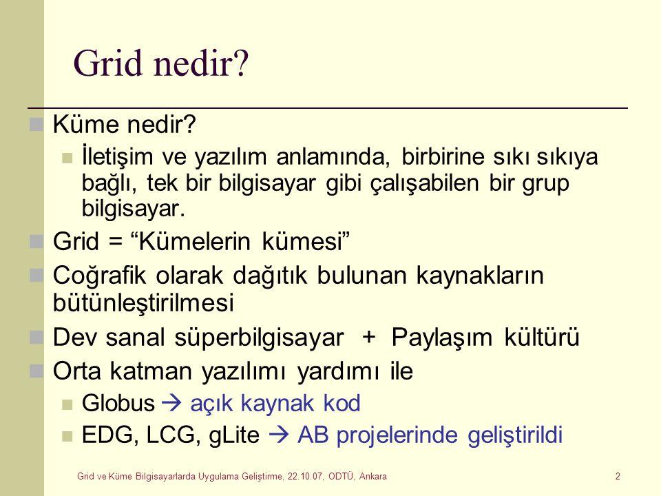Grid ve Küme Bilgisayarlarda Uygulama Geliştirme, 22.10.07, ODTÜ, Ankara 2 Grid nedir? Küme nedir? İletişim ve yazılım anlamında, birbirine sıkı sıkıy