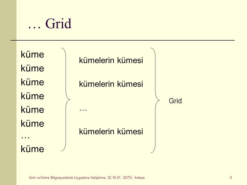 Grid ve Küme Bilgisayarlarda Uygulama Geliştirme, 22.10.07, ODTÜ, Ankara 9 … Grid küme … küme kümelerin kümesi … kümelerin kümesi Grid