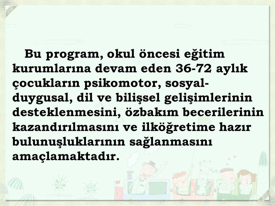 Bu program okul öncesi eğitim kurumlarına devam eden 36 72 aylık