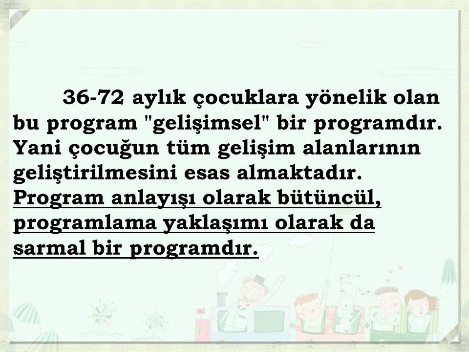 36-72 aylık çocuklara yönelik olan bu program