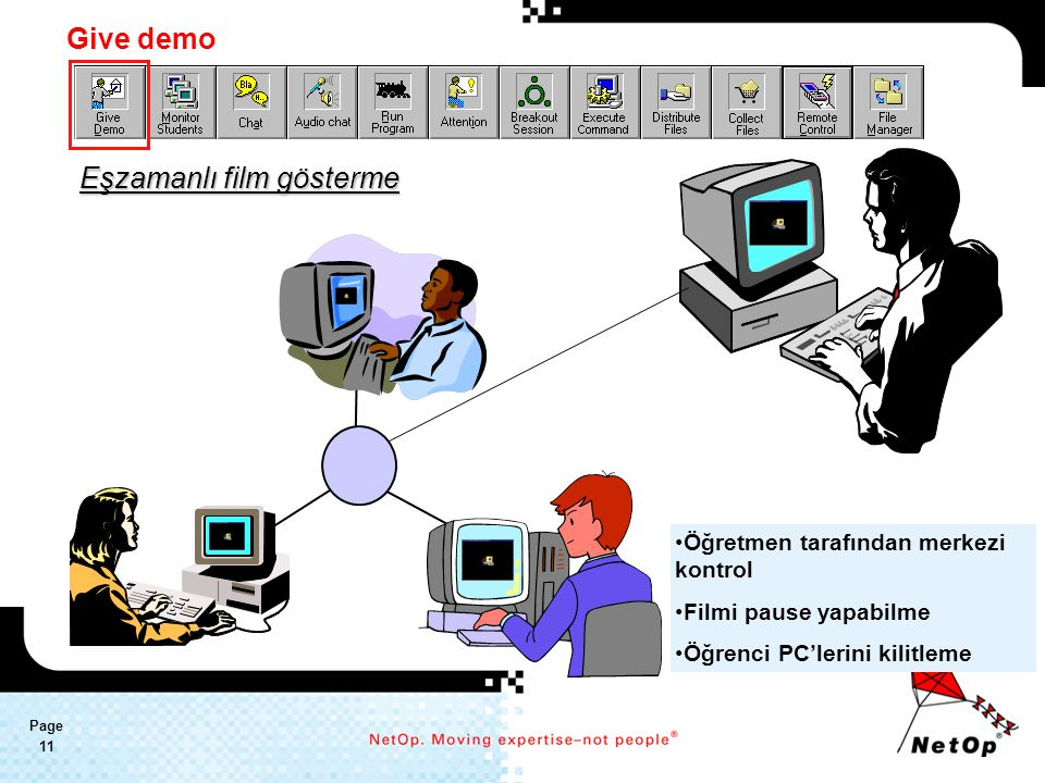 Page 11 Eşzamanlı film gösterme Öğretmen tarafından merkezi kontrol Filmi pause yapabilme Öğrenci PC'lerini kilitleme Give demo