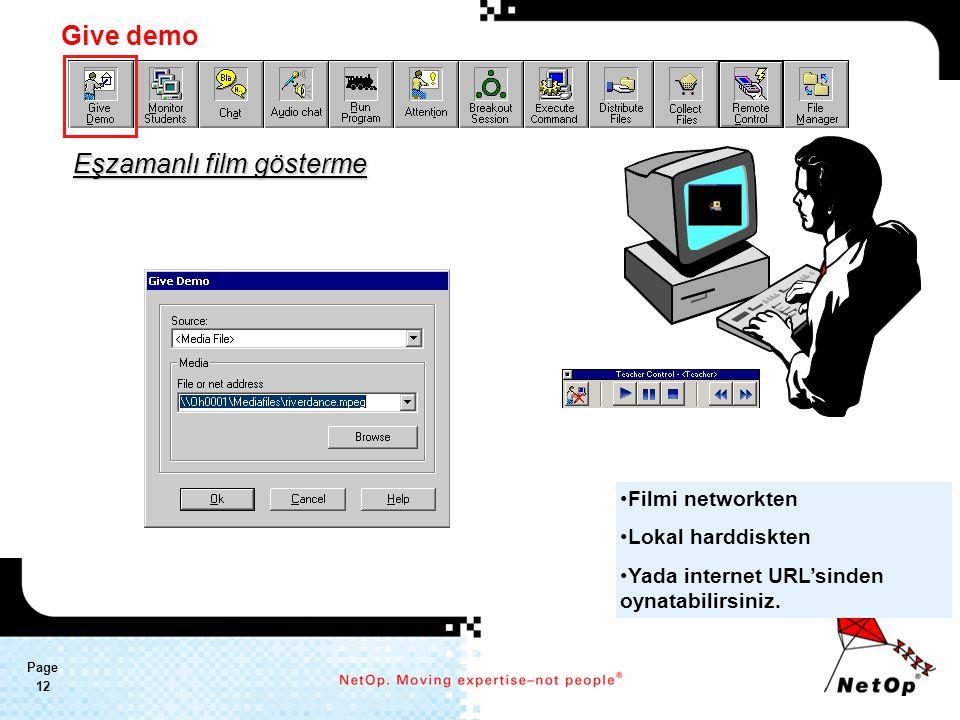 Page 12 Eşzamanlı film gösterme Filmi networkten Lokal harddiskten Yada internet URL'sinden oynatabilirsiniz.