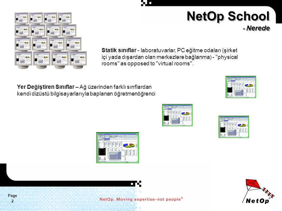 Page 2 NetOp School - Nerede Statik sınıflar - laboratuvarlar, PC eğitme odaları (şirket içi yada dışardan olan merkezlere bağlanma) - physical rooms as opposed to virtual rooms .