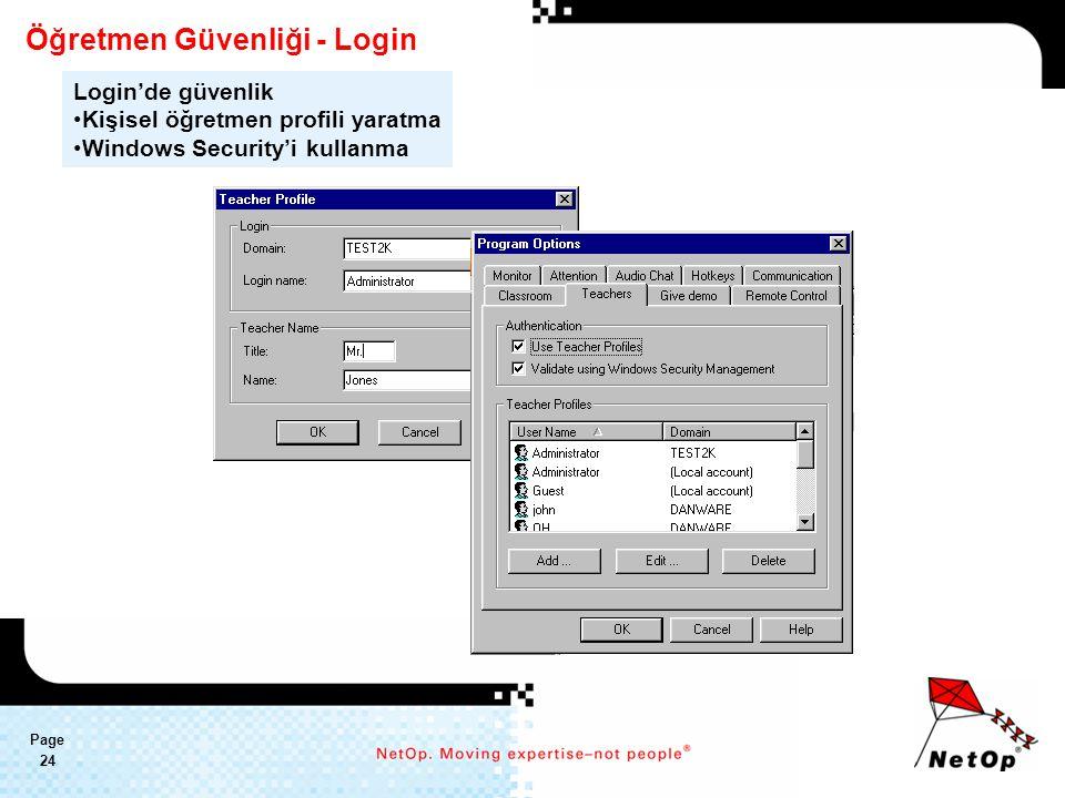 Page 24 Öğretmen Güvenliği - Login Login'de güvenlik Kişisel öğretmen profili yaratma Windows Security'i kullanma