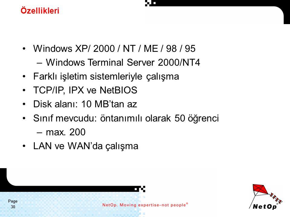 Page 30 Özellikleri Windows XP/ 2000 / NT / ME / 98 / 95 –Windows Terminal Server 2000/NT4 Farklı işletim sistemleriyle çalışma TCP/IP, IPX ve NetBIOS Disk alanı: 10 MB'tan az Sınıf mevcudu: öntanımılı olarak 50 öğrenci –max.