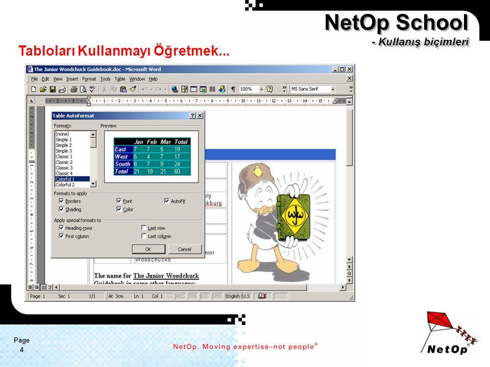 Page 4 NetOp School - Kullanış biçimleri Tabloları Kullanmayı Öğretmek...