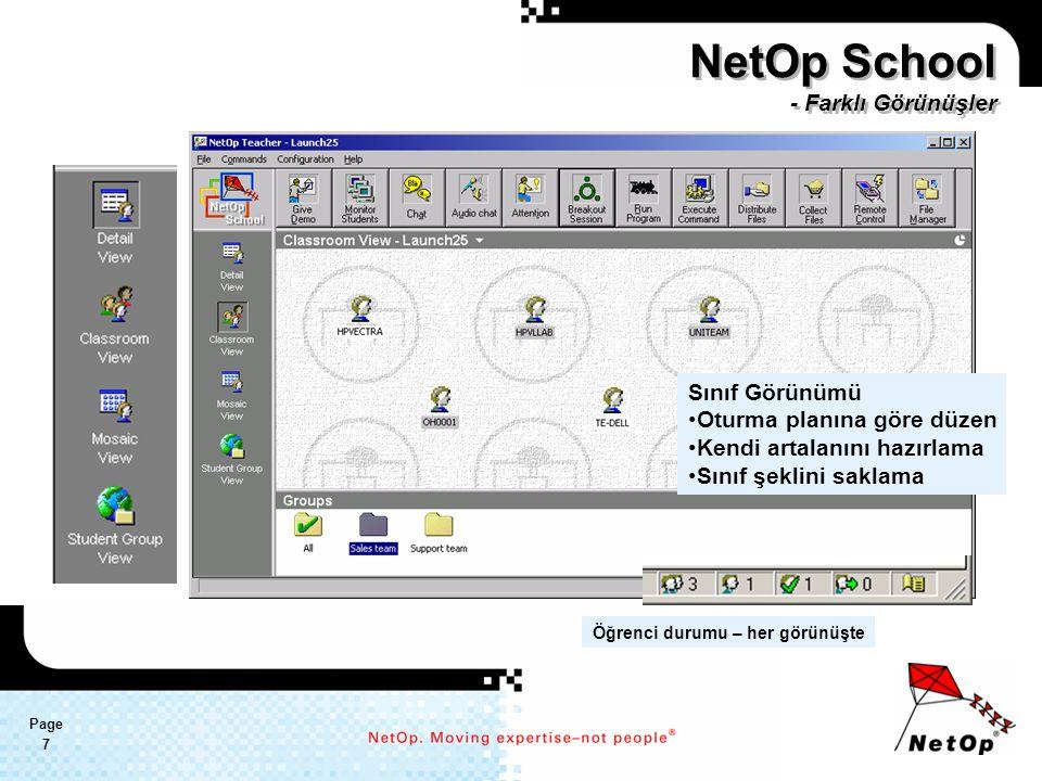 Page 7 Sınıf Görünümü Oturma planına göre düzen Kendi artalanını hazırlama Sınıf şeklini saklama NetOp School - Farklı Görünüşler Öğrenci durumu – her görünüşte