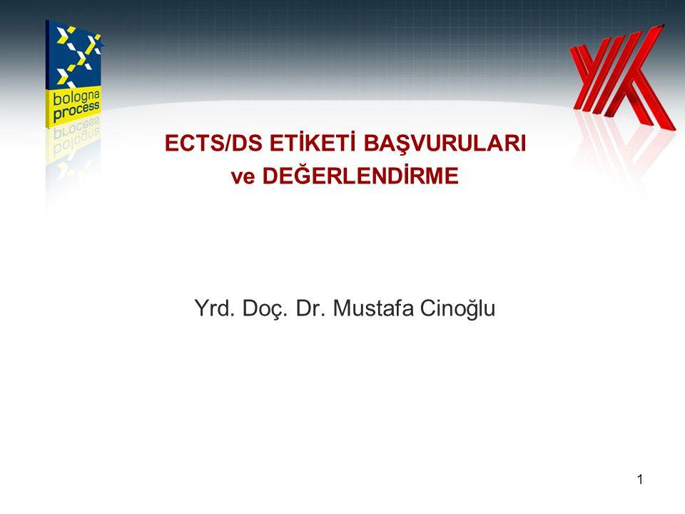 1 ECTS/DS ETİKETİ BAŞVURULARI ve DEĞERLENDİRME Yrd. Doç. Dr. Mustafa Cinoğlu