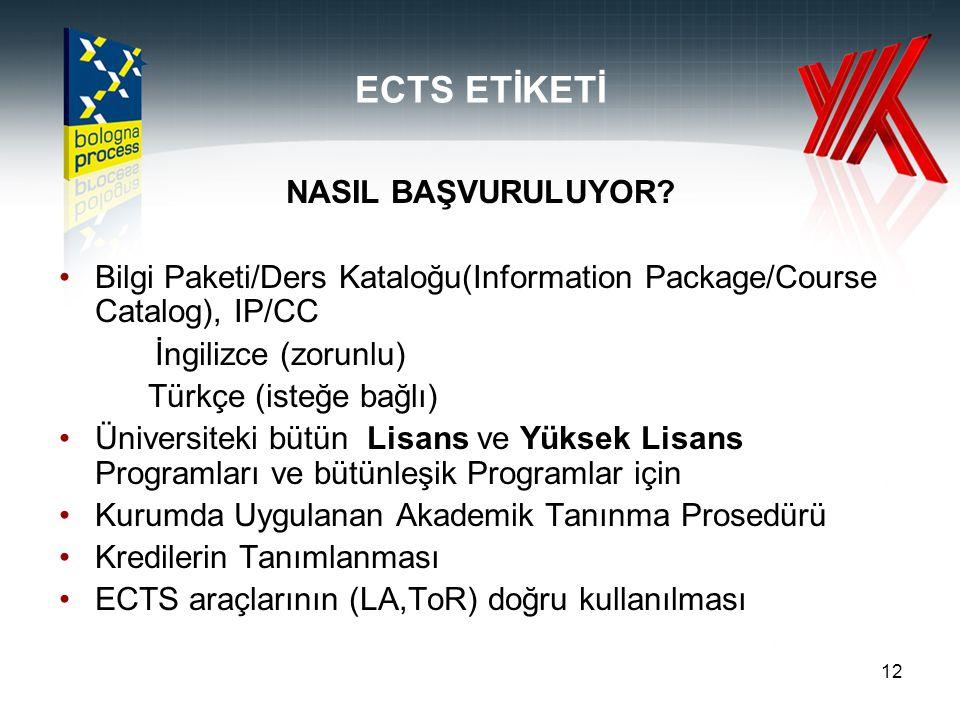 12 ECTS ETİKETİ NASIL BAŞVURULUYOR? Bilgi Paketi/Ders Kataloğu(Information Package/Course Catalog), IP/CC İngilizce (zorunlu) Türkçe (isteğe bağlı) Ün