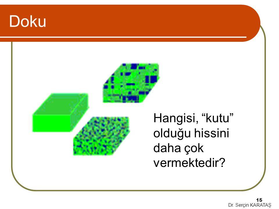"""Dr. Serçin KARATAŞ 15 Doku Hangisi, """"kutu"""" olduğu hissini daha çok vermektedir?"""