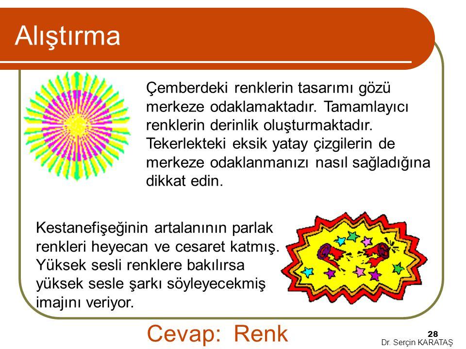 Dr. Serçin KARATAŞ 28 Alıştırma Çemberdeki renklerin tasarımı gözü merkeze odaklamaktadır. Tamamlayıcı renklerin derinlik oluşturmaktadır. Tekerlektek