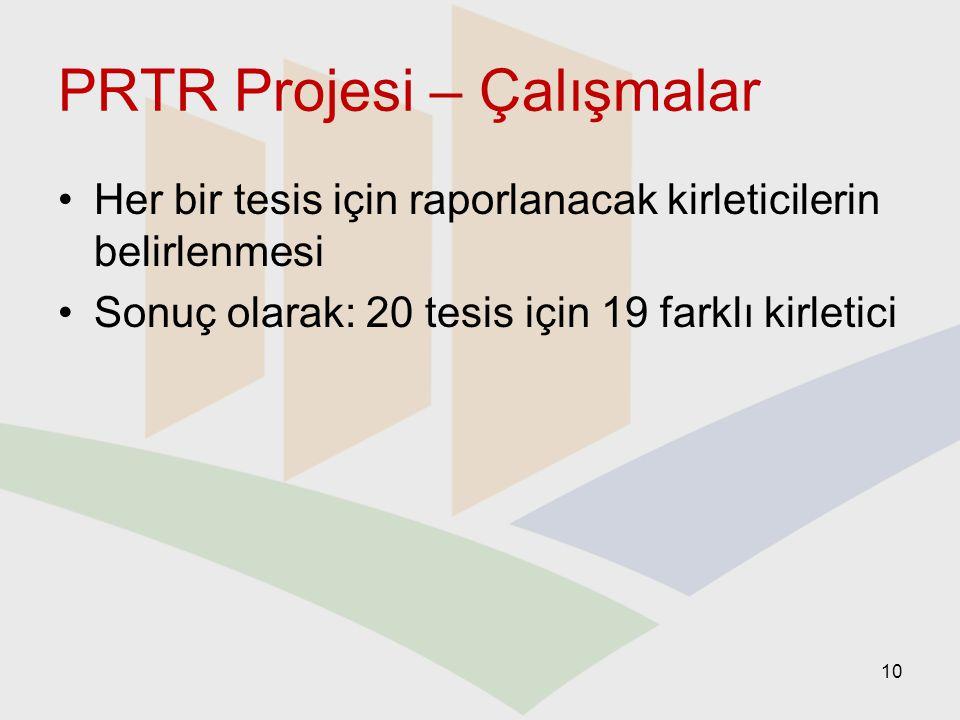 PRTR Projesi – Çalışmalar Her bir tesis için raporlanacak kirleticilerin belirlenmesi Sonuç olarak: 20 tesis için 19 farklı kirletici 10