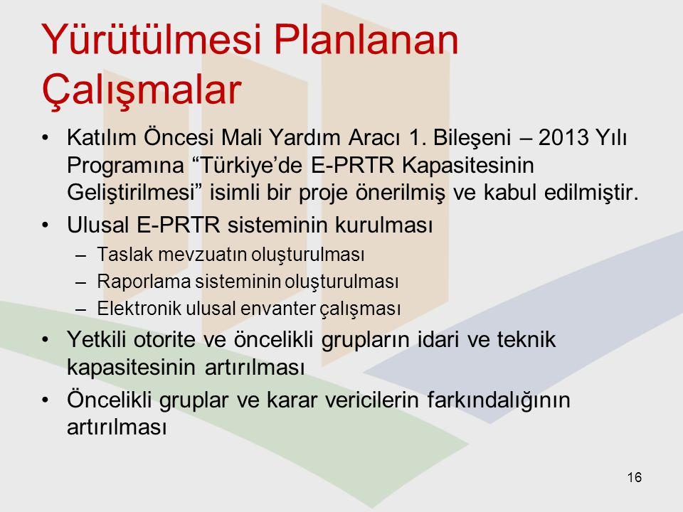 """Yürütülmesi Planlanan Çalışmalar Katılım Öncesi Mali Yardım Aracı 1. Bileşeni – 2013 Yılı Programına """"Türkiye'de E-PRTR Kapasitesinin Geliştirilmesi"""""""