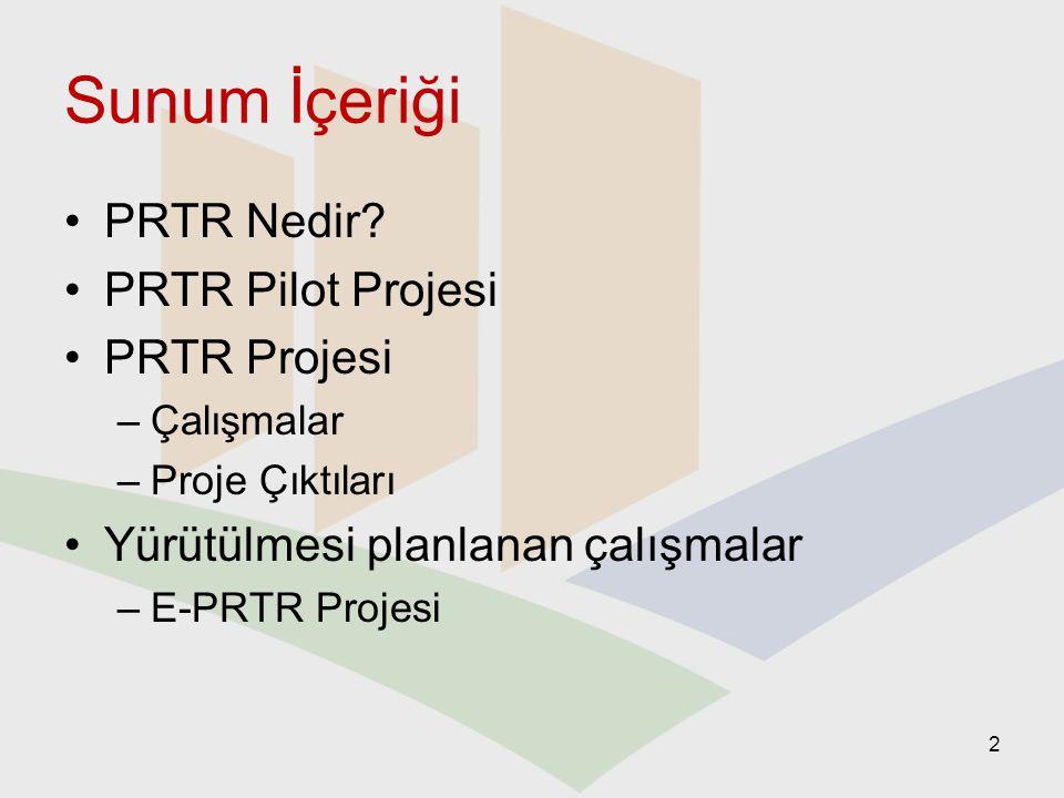 Sunum İçeriği PRTR Nedir? PRTR Pilot Projesi PRTR Projesi –Çalışmalar –Proje Çıktıları Yürütülmesi planlanan çalışmalar –E-PRTR Projesi 2