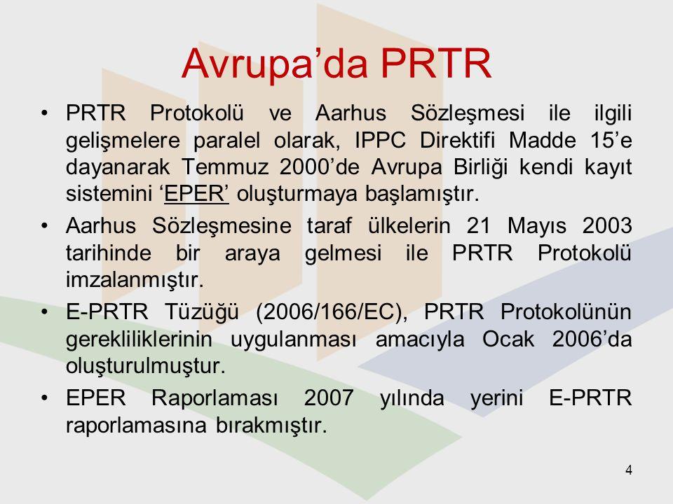 PRTR Pilot Projesi 2005 – 2007 yılları arasında 1 gönüllü tesis katılımı ile (PETKİM Petrokimya A.Ş.) 10 kirletici Aylık raporlama Rehber doküman ve raporlama formatının Türkçeye çevirisi 5