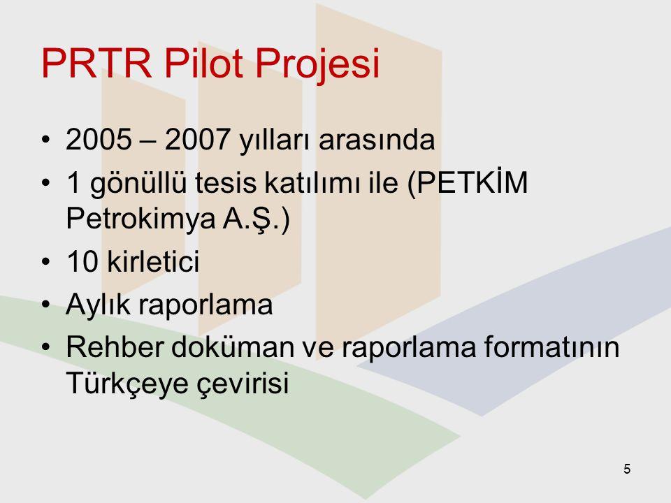 PRTR Pilot Projesi 2005 – 2007 yılları arasında 1 gönüllü tesis katılımı ile (PETKİM Petrokimya A.Ş.) 10 kirletici Aylık raporlama Rehber doküman ve r