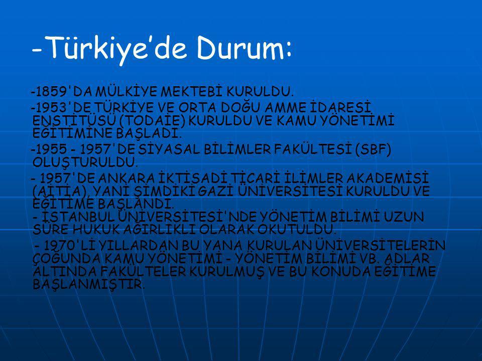 -Türkiye'de Durum: -1859 DA MÜLKİYE MEKTEBİ KURULDU.