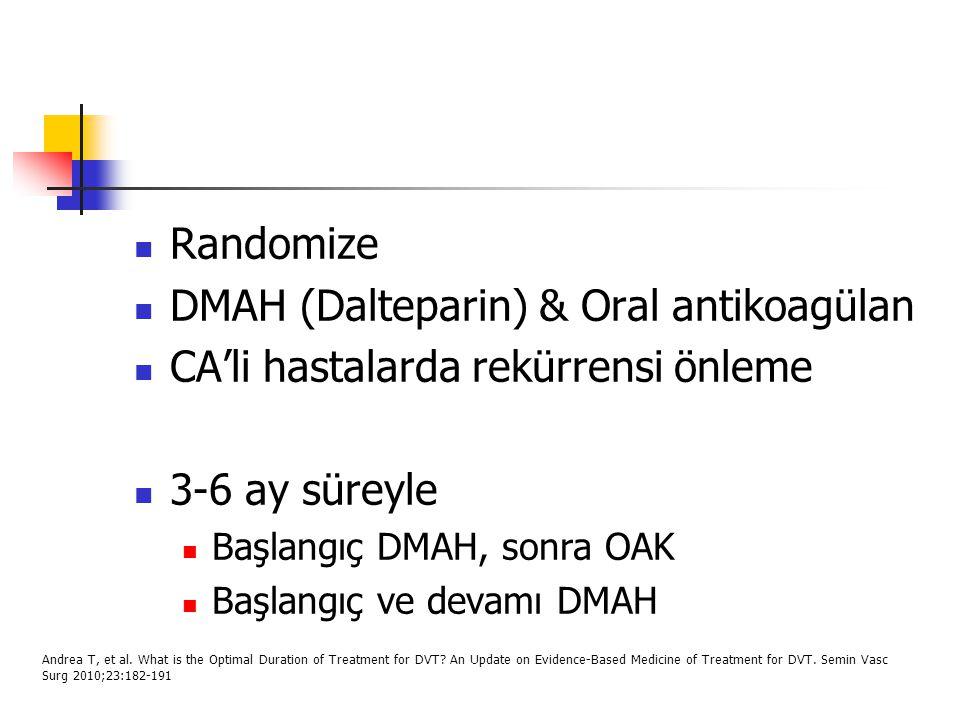 Randomize DMAH (Dalteparin) & Oral antikoagülan CA'li hastalarda rekürrensi önleme 3-6 ay süreyle Başlangıç DMAH, sonra OAK Başlangıç ve devamı DMAH A