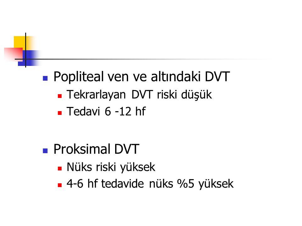 Popliteal ven ve altındaki DVT Tekrarlayan DVT riski düşük Tedavi 6 -12 hf Proksimal DVT Nüks riski yüksek 4-6 hf tedavide nüks %5 yüksek