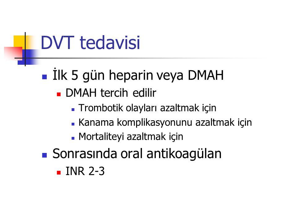 DVT tedavisi İlk 5 gün heparin veya DMAH DMAH tercih edilir Trombotik olayları azaltmak için Kanama komplikasyonunu azaltmak için Mortaliteyi azaltmak