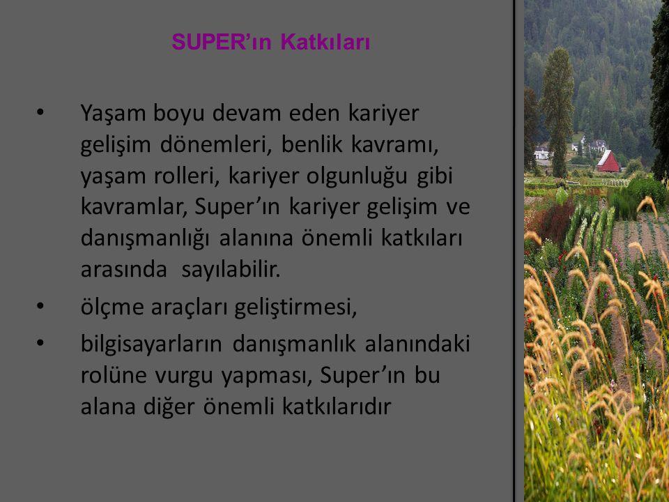 SUPER'ın Katkıları Yaşam boyu devam eden kariyer gelişim dönemleri, benlik kavramı, yaşam rolleri, kariyer olgunluğu gibi kavramlar, Super'ın kariyer gelişim ve danışmanlığı alanına önemli katkıları arasında sayılabilir.