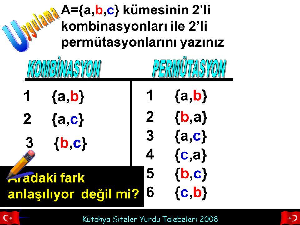 Kütahya Siteler Yurdu Talebeleri 2008 A={a,b,c} kümesinin 2'li kombinasyonları ile 2'li permütasyonlarını yazınız {a,b}1 {a,c}2 {b,c}{b,c}3 {a,b}1 {b,a}2 {a,c}3 {c,a}4 {b,c}{b,c}5 {c,b}{c,b}6 Aradaki fark anlaşılıyor değil mi?